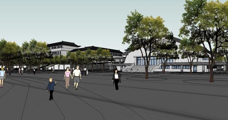 中式风格中学建筑设计SU模型_5