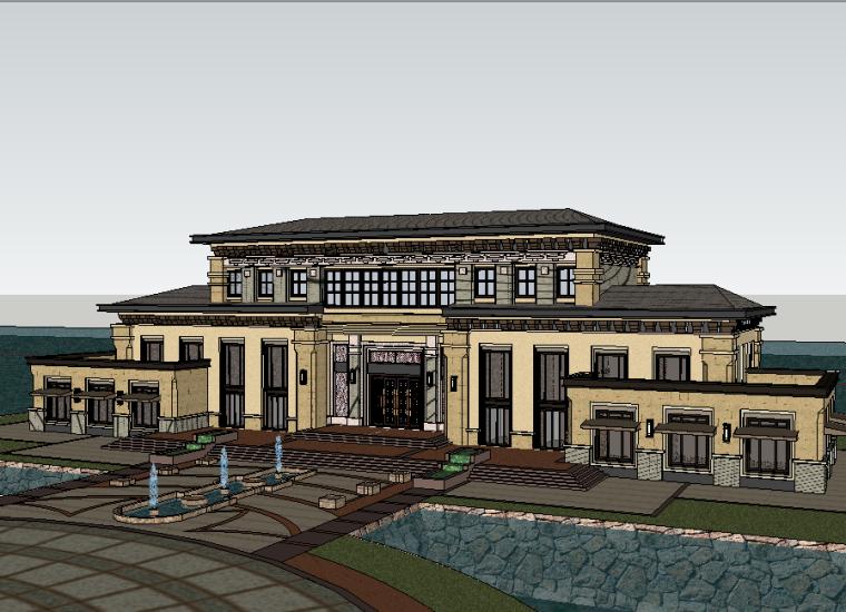 新古典风格会所建筑SU模型设计