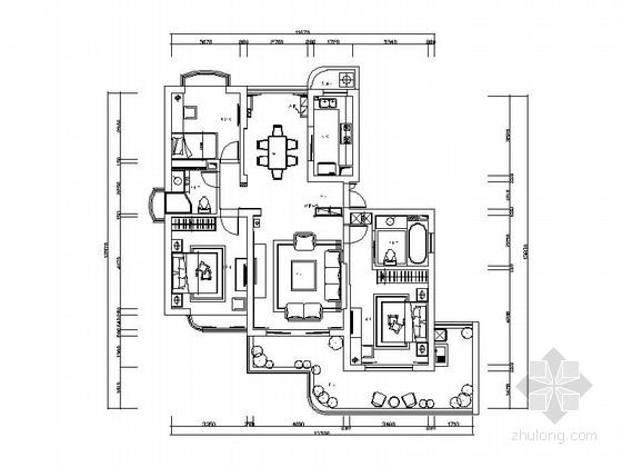 时尚三居室装修施工图(含效果图)