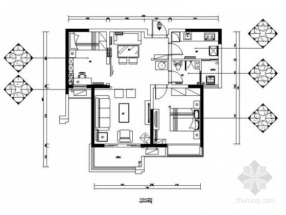[郑州]名族新贵时尚活力两居室样板房设计CAD装修图(含方案)