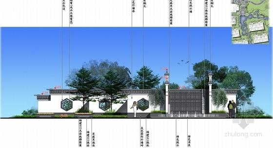 [北京]诗情画意山水住宅商业深化设计方案(图纸精美)-入口侧立面图