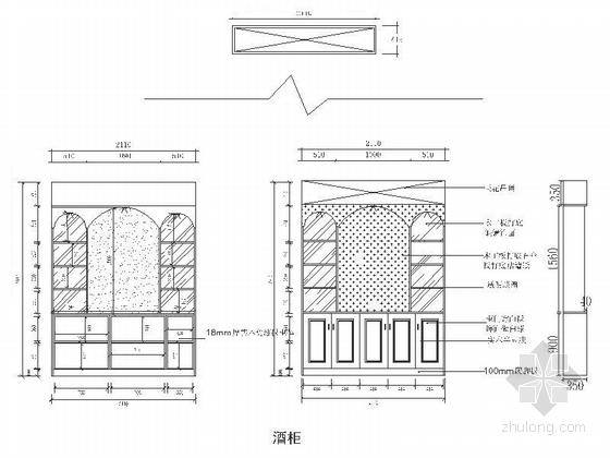 精品浪漫法式风格三居室室内装修施工图(含效果)酒柜立面图
