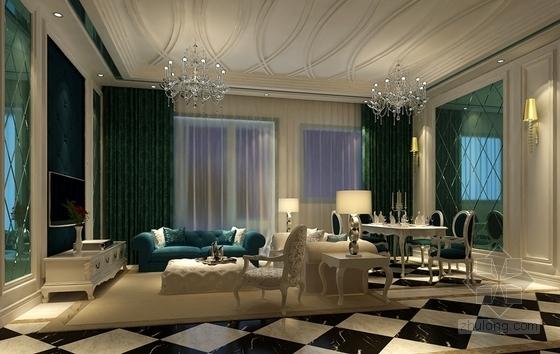 [广州]地知名地产风格两居室样板房室内设计施工图(含效果图) 效果图