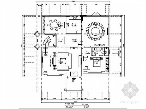 高级中式风格雅居三层别墅室内装修施工图(含效果)