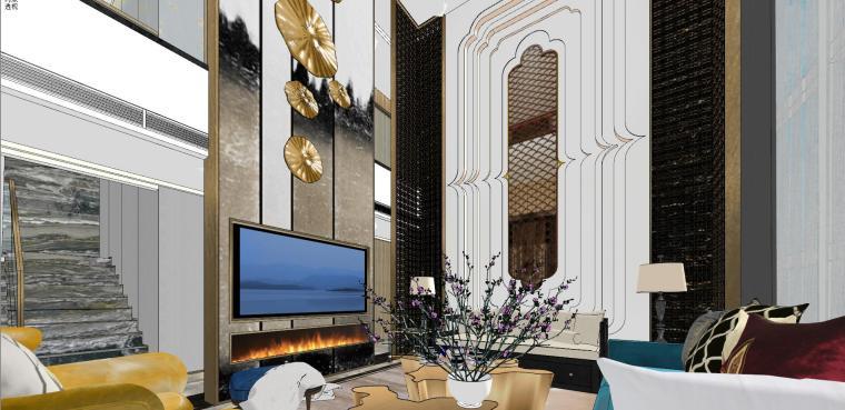 豪华loft室内设计客餐厅模型设计(2018年)-X 17
