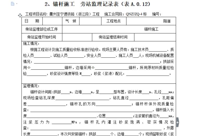 [旁站记录]锚杆施工旁站监理记录表