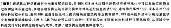 BIM-GIS技术在建筑供应链可视化中的应用