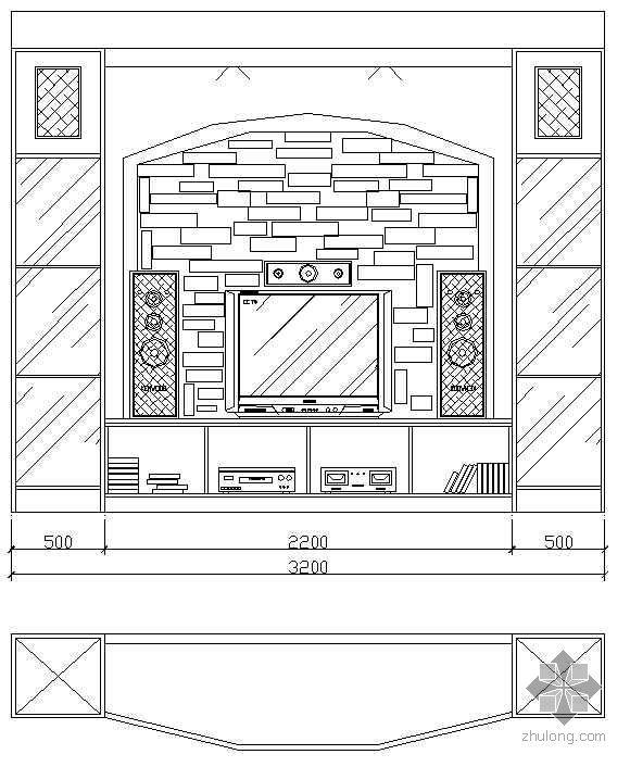 54个电视背景墙CAD立面图