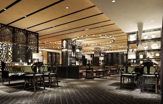 [杭州]现代新中式风格特色加盟连锁火锅店装修施工图(含效果)大厅效果图
