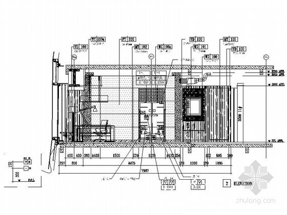 [北京]中央商务区豪华五星级酒店客房装修图客房立面图