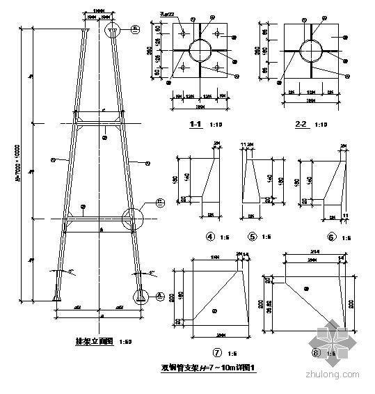 某双钢管支架节点构造详图