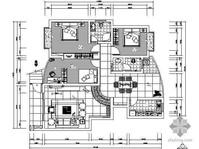 118㎡三室两厅设计方案