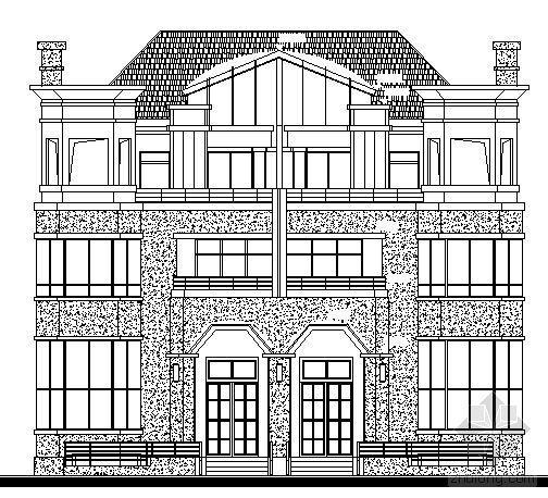 [上海浦东]某双拼城市小型别墅建筑方案图