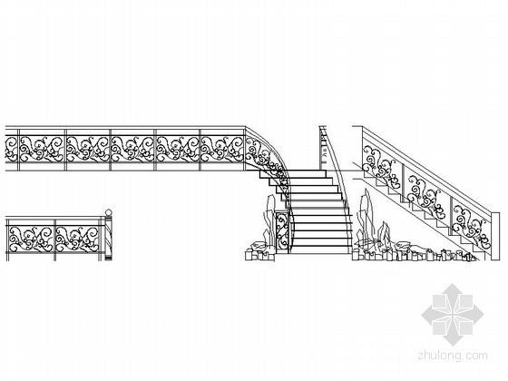 各式风格楼梯立面图CAD图块下载