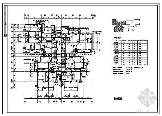 塔楼住宅建筑标准层平面图(780m2)