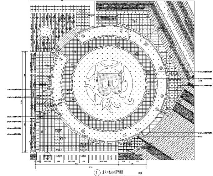 [重庆]生态智能交通物联网RFID工程中心环境景观设计全套施工图(2017最新图纸)-主入口跌水水景设计
