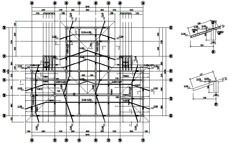 一套完整的会所设计框架结构图纸(CAD,18张)