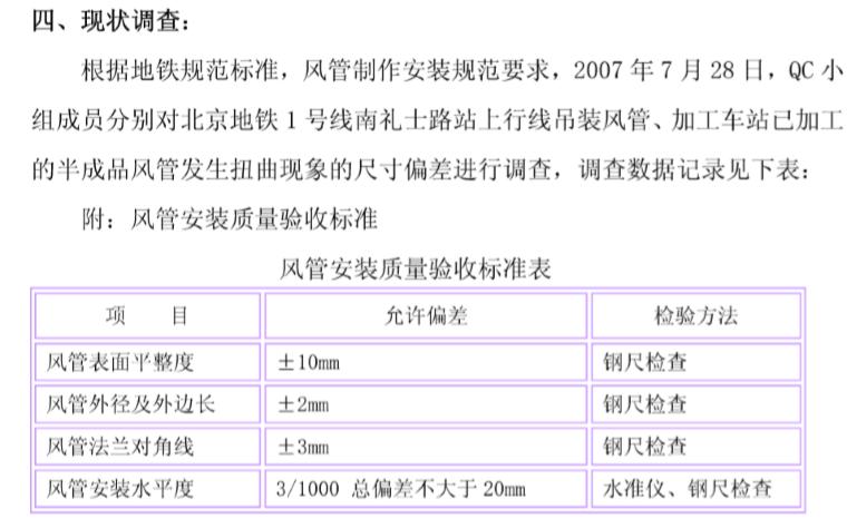 提高角钢法兰钢板风管制作合格率QC成果书_3