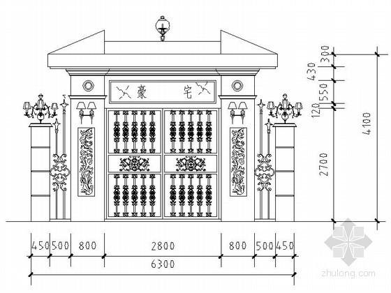 某豪华别墅亭铁艺大门CAD方案图