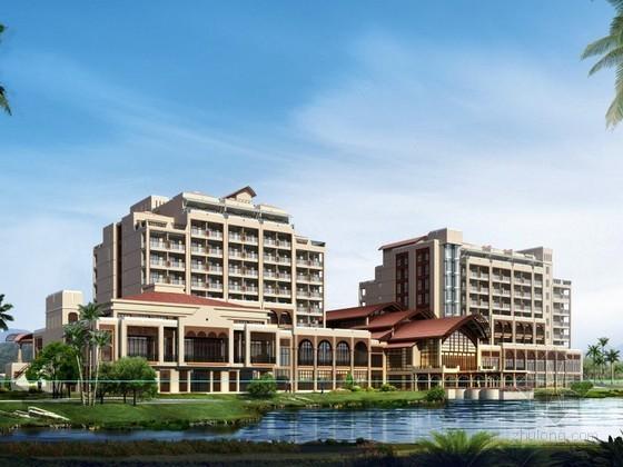 某九层民俗风格酒店建筑方案图(含效果图)
