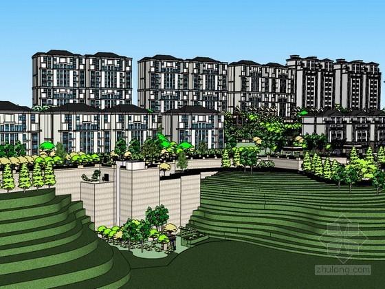 重庆某小区规划方案sketchup模型下载