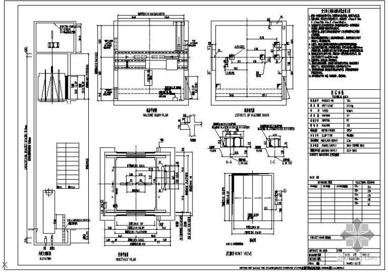 某货梯(THJ3000六轨双通)节点构造详图