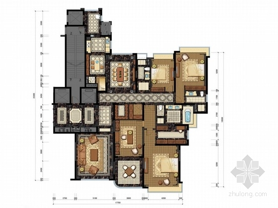 [山西]名师超大四居室古典住宅室内设计方案