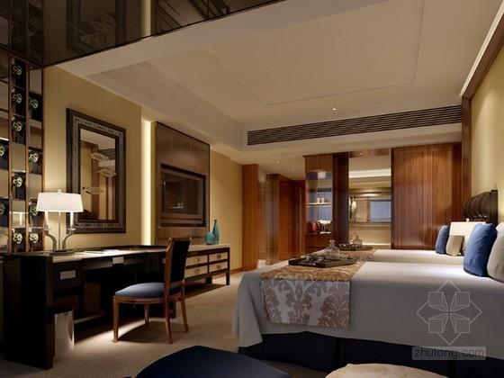 酒店标准间客房3d模型下载