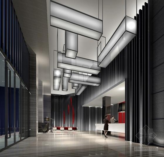 [福建]四星级现代温泉酒店室内装修设计方案大堂效果