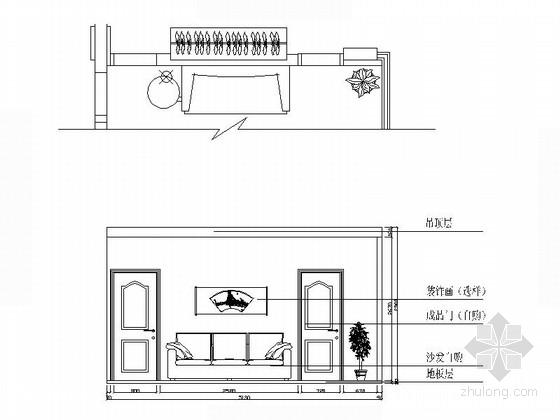 [江西]枢纽中心区现代三居室装修施工图(含效果)立面图