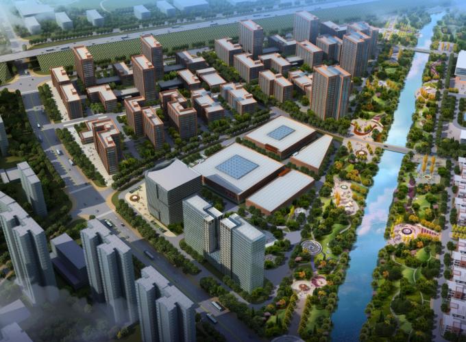 [湖南]生态海绵城市雨水环保科技工业产业园区景观设计方案(2016最新)-产业园区景观效果图
