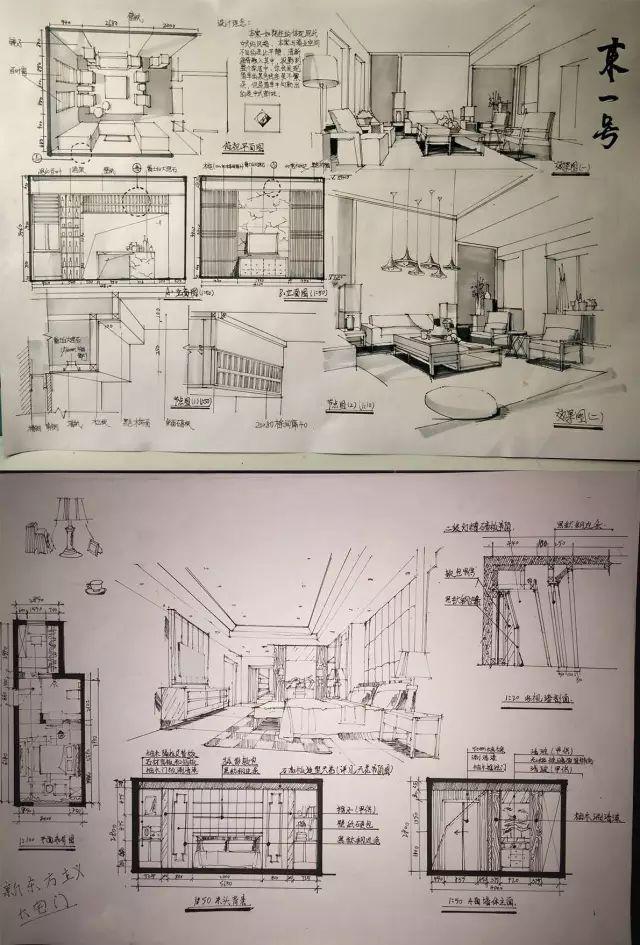 室内手绘 室内设计手绘马克笔上色快题分析图解_34