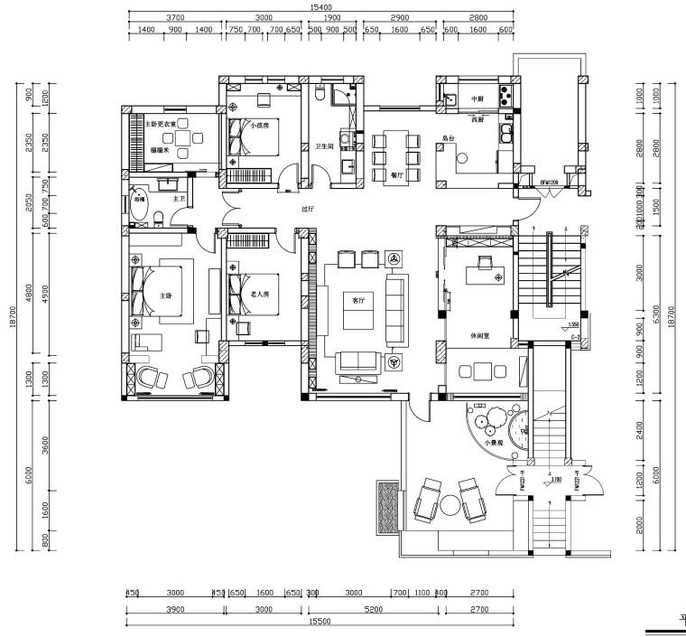 [杭州]新中式四居室施工图设计(附3D模型+高清效果图)