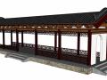 古典廊架3d模型下载