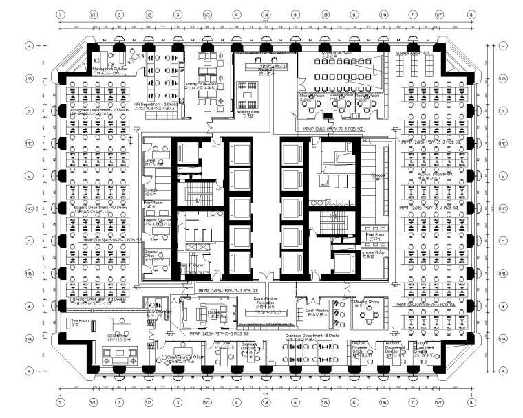 [广州]某办公室装修完整CAD施工图+工程报价预算