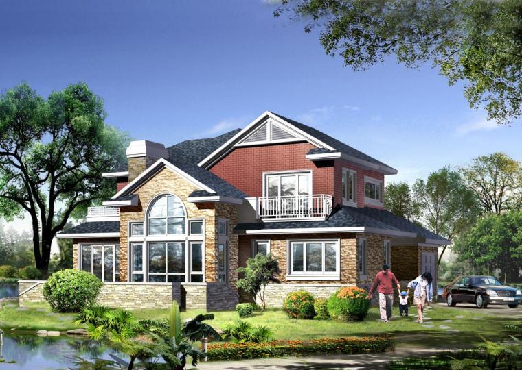二层独栋造型简约大方别墅户型建筑设计(包含效果图)