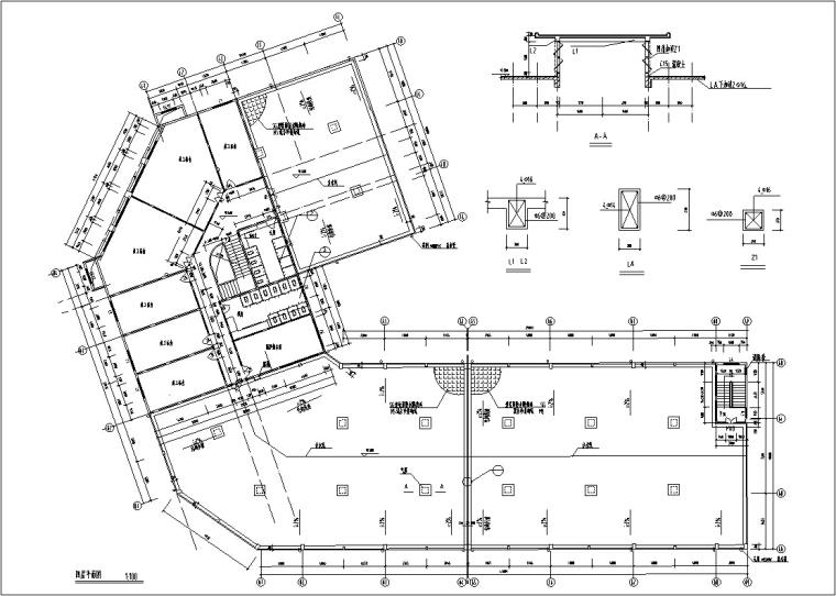 5套现代多层宾馆酒店建筑设计施工图CAD-豪泉多层酒店建筑设计平面图2