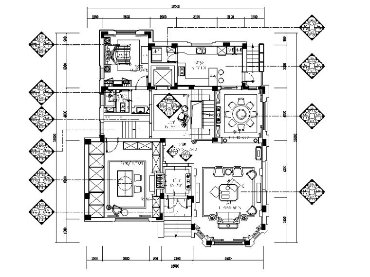 [江苏]欧式风格别墅设计CAD施工图(含效果图)