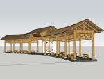 竹子廊架SketchUp模型下载