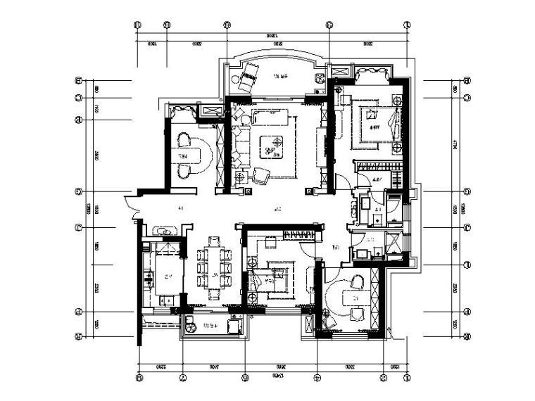 [合肥]唯美浪漫法式样板房室内设计施工图(含效果图)