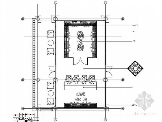 会所时尚红酒吧室内装修施工图(含效果)