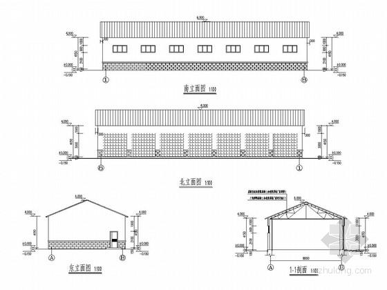单层钢结构小汽车库结构施工图(含建筑图)