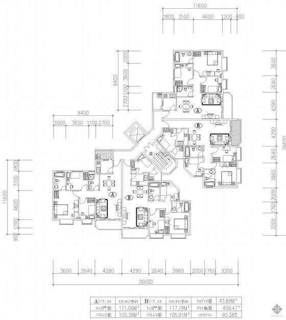 板式高层一梯两户二室一厅二卫户型图(114/114)