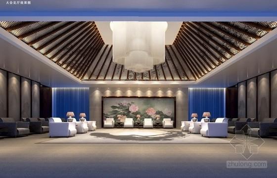 [江苏]徽派建筑风格高端文化会所设计方案大会见厅效果图