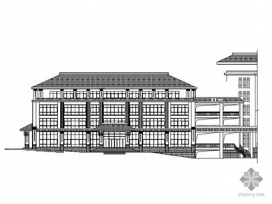 [威海]某2栋四层大屋顶办公楼、地下车库建筑施工图