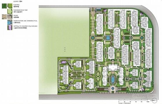 [上海]法式园林风情住宅小区景观方案设计-植物布置图