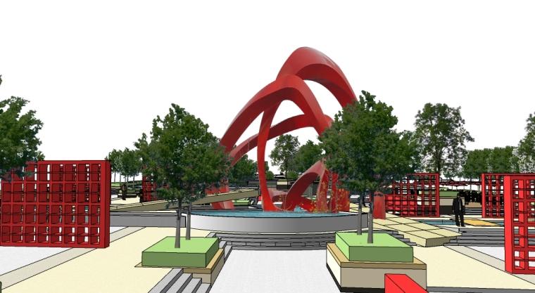 现代休闲公园景观SU模型