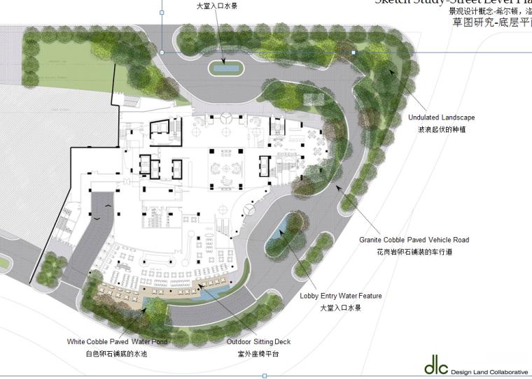 某居住景观设计概念-国外设计所-草图研究-底层平面