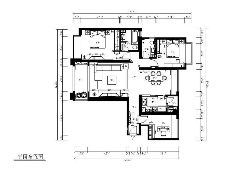 [福建]极简风格样板房设计CAD施工图(含效果图、3D模型)