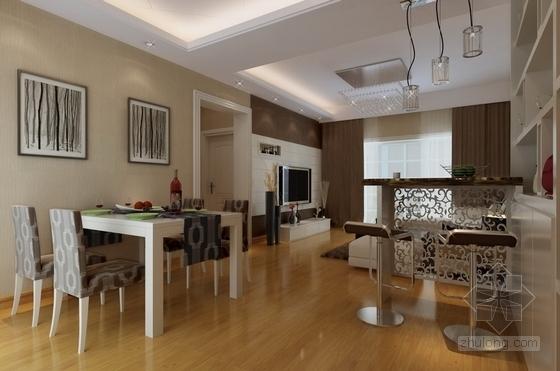 [无锡]文明社区简约现代两室两厅设计装修图(含效果)餐厅效果图